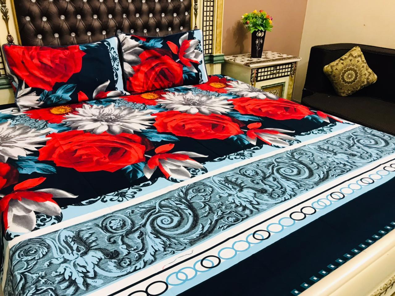3D-Crystal Cotton Bedsheets By pillowberry studio Fabric👉🏻 Crystal cotton 💯 ❤️Colour and Fabric Life Time Guaranteed😇 3pc Bedsheet Size👇🏻👇🏻👇🏻👇🏻👇🏻👇🏻👇🏻 ✅ 1 Bedsheet Size 89/95 ✅ 2 Pipping Pillows Cover 19/29 Wholesale Rate For Resellers and Shopkeepers 850*fix NOTE 👉🏻Colour and Stuff LifeTime Guaranteed👈🏻