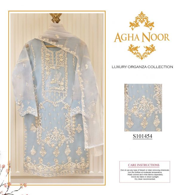 BRAND * = AGHA NOOR LUXURY COLLECTION 2021 DESIGN = (S102065) , (103359) & (102454) 3PC SUIT Hit Designs Available With Agha Noor Original Packing Gift Bag & Packing Box. FABRIC = PURE ORGANZA & RAW SILK